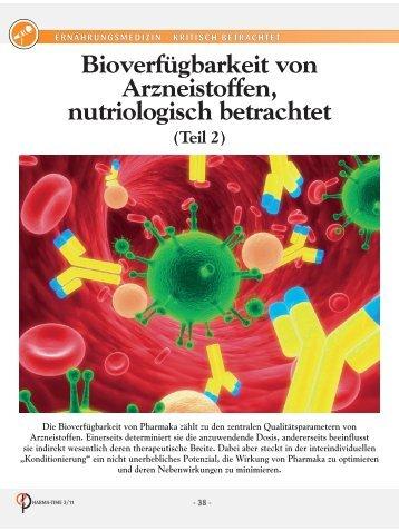 Bioverfügbarkeit von Arzneistoffen nutriologisch betrachtet! (Teil2)