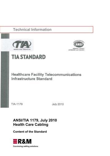 ANSI/TIA 1179, Health Care Cabling, 2010 - R&M