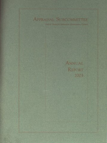 Letter of Transmittal - Appraisal Subcommittee
