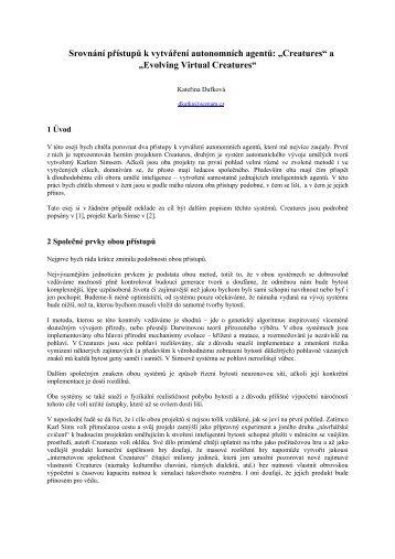"""Srovnání přístupů k vytváření autonomních agentů: """"Creatures"""" a ..."""