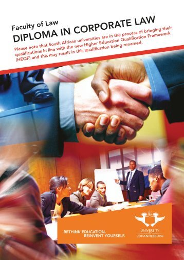 DIPLOMA IN CORPORATE LAW - University of Johannesburg