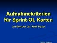 Aufnahmekriterien für Sprint-OL Karten - Swiss Orienteering