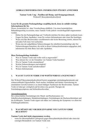 INFORMATION FÜR DEN ANWENDER Tantum ... - CSC Pharma