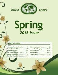 Spring 2013 issue - Ontario Modern Language Teachers