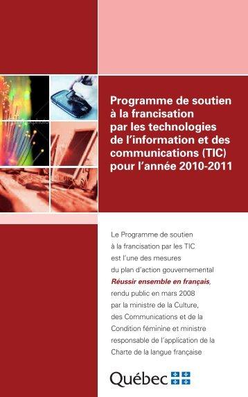 Programme de soutien à la francisation par les technologies de l ...