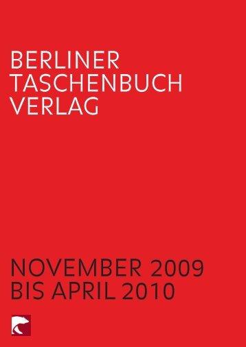 BERLINER TASCHENBUCH VERLAG NOVEMBER 2009 BIS ...