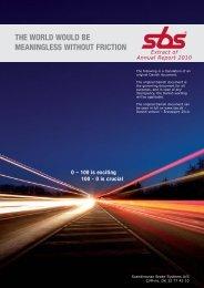 Strategic foundation of the SBS group - Scandinavian Brake ...