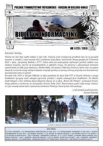 Biuletyn Informacyjny nr 1 (72) / 2013 - Oddział PTT w Bielsku-Białej