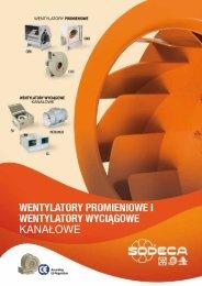 wentylatory promieniowe i wentylatory wyciągowe kanałowe - Sodeca
