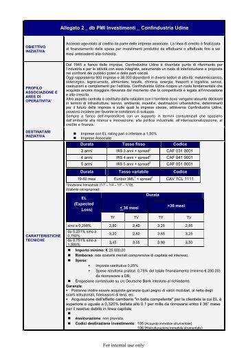db PMI Investimenti Linea di credito a 3, 4 o 5 anni finalizzata al ...