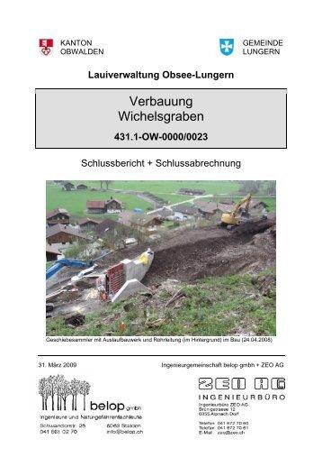 Verbauung Wichelsgraben - Hochwasserschutz Obwalden