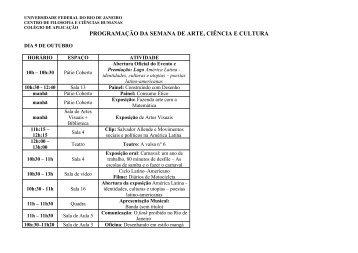 programação da semana de arte e cultura do - Colégio de ...