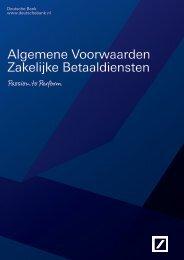 Algemene Voorwaarden Zakelijke Betaaldiensten - Deutsche Bank