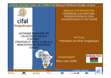 Siège du CIFAL Ouagadougou - Association Nationale des ...