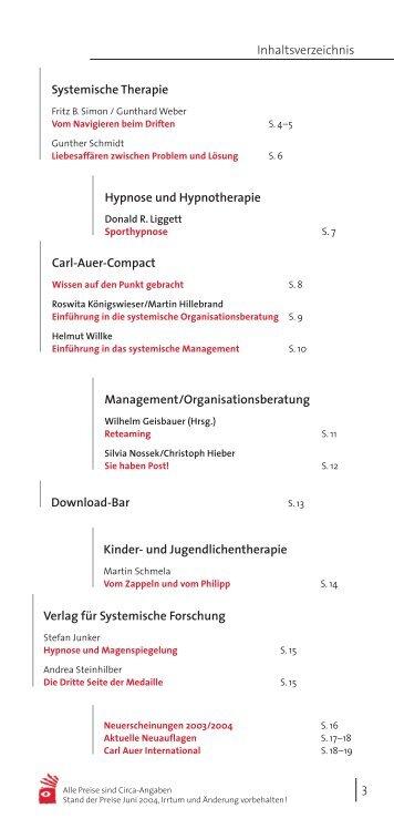 3 Inhaltsverzeichnis Systemische Therapie Carl-Auer-Compact ...