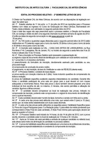 INSTITUTO CAL DE ARTE E CULTURA | FACULDADE CAL DE ...