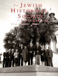 2011 Fall Newsletter - Jewish Historical Society of South Carolina