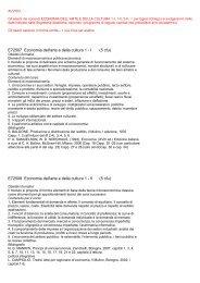 E72507 Economia dell'arte e della cultura 1 - I (5 cfu) E72508 ...