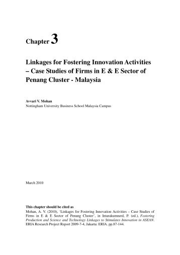 Chapter 3 Linkages for Fostering Innovation Activities – Case ... - ERIA