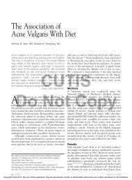The Association of Acne Vulgaris With Diet - Cutis