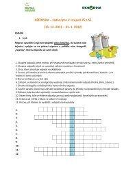 KŘÍŽOVKA – zadání pro II. stupeň ZŠ a SŠ (15. 12. 2011 – 31. 1. 2012)