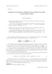 REMARK TO EXISTENCE THEOREM FOR ENTIRE FUNCTIONS ...