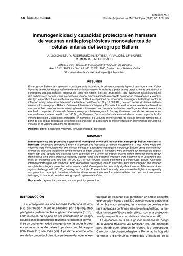 Inmunogenicidad y capacidad protectora en ... - Instituto Finlay