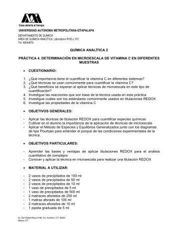 Determinación de vitamina C en diferentes muestras