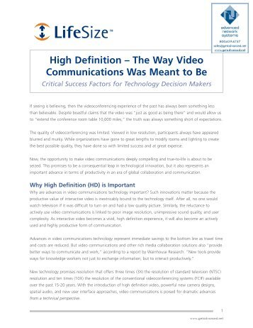 HD: The Way Videoconferencing Is Meant to Be - Advanced Network ...