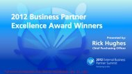 2012 Business Partner Excellence Award Winners - PGSupplier.com