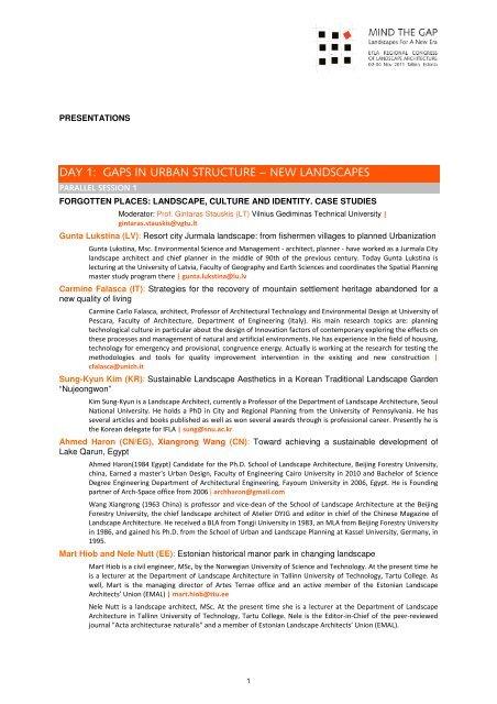 Presentations list and authors profiles - EFLA Regional Congress on