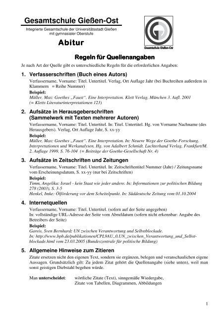 Regeln Fã R Quellenangaben Der Gesamtschule Gieãÿen Ost