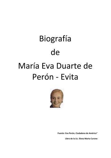 Biografía de María Eva Duarte de Perón - Evita - Movimiento Peronista