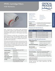 PPVFL Cartridge Filters - Critical Process Filtration