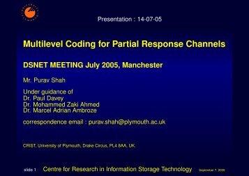 Multilevel encoding for PRML Systems - University of Exeter