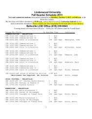 2013 Fall LCIE Quarter Schedule - Lindenwood University - Belleville
