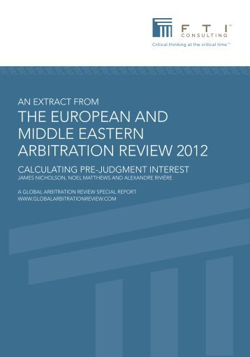 the european and middle eastern arbitration review ... - FTI Consulting