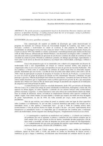 o sentidos da cidade numa coluna de jornal ... - Celsul.org.br
