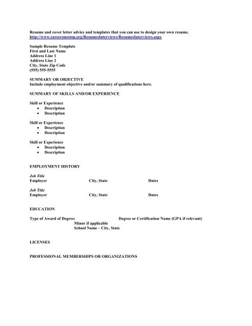 Resume And Cover Letter Advice Templates That You Can