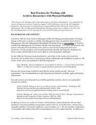 Best Practices for Working with Archives Researchers - Society of ...
