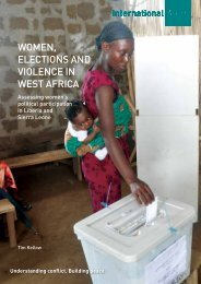 Women, elections and Violence in West africa - International Alert