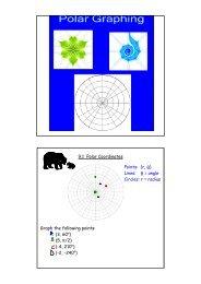 9.1 Polar Coordinates Graph the following points: (3, 60o) (5, π/2 ...