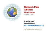 Research Data Alliance: Next Steps
