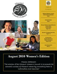 August 2010 Women's Edition - Missouri Women's Council