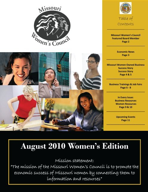August 2010 Women's Edition - Missouri Women's Council