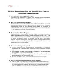 Dividend Reinvestment Plan and Stock Dividend Program ...