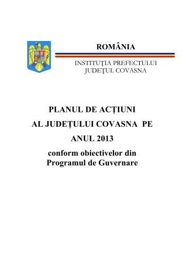 plan actiuni 2013 - Prefectura Judeţului Covasna