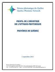 Profil de l'industrie de l'optique-photonique - Réseau photonique du ...