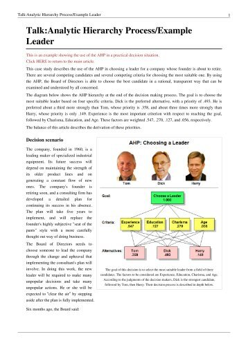 Talk: Analytic Hierarchy Process/Example Leader