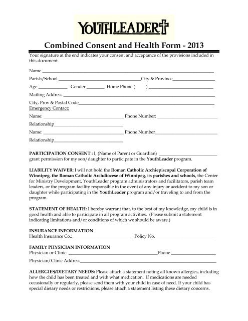 Consent form - Archdiocese of Winnipeg